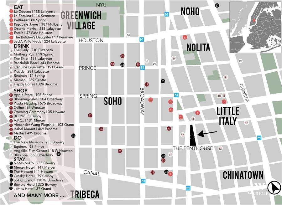 Noho Nyc Map.240 Centre Street Penthouse Little Italy Ny 10013 Warburg Sales